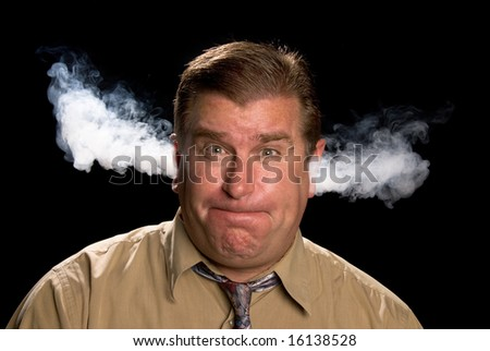 A man is angry and venting smoke from his ears in a classic expression shared in illustrations and cartoons.