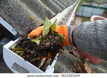 A man is cleaning a clogged roof gutter from dirt, debris and fallen leaves to prevent water damage and let rainwater drain properly.