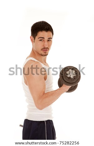 A man is curling a weight with a serious face expression