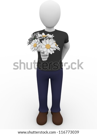 a man is giving a bunch of flowers