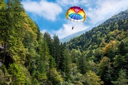 A man is gliding using a parachute on background of high Alps mountains wth green forest under blue cloudy sky.