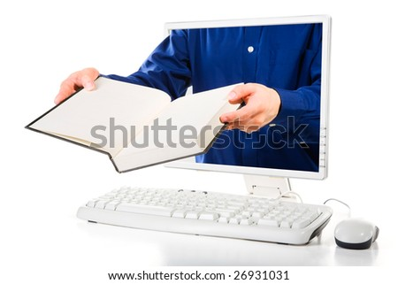 A man is holding an opened book from inside computer's screen. - stock photo