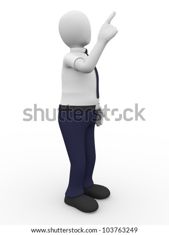 A man is pointing up with his index finger
