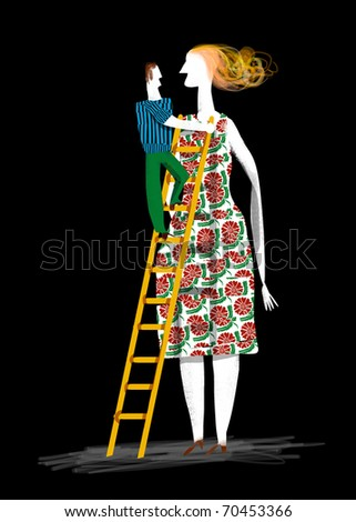 a man is raised in stairs to reach very high woman