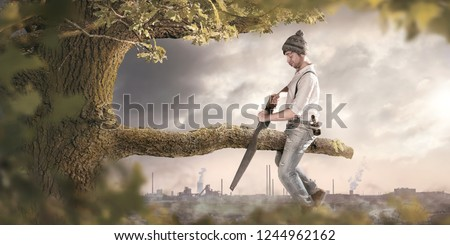 A man is sawing off the branch he is sitting on