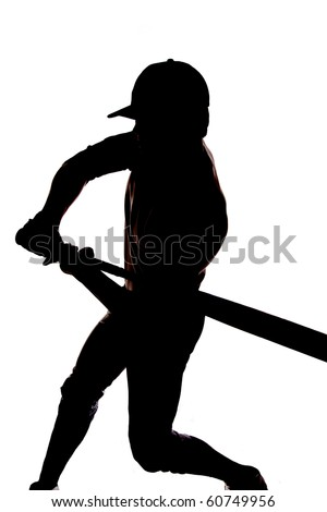 A man is silhouetted on a white background beginning to swing his bat