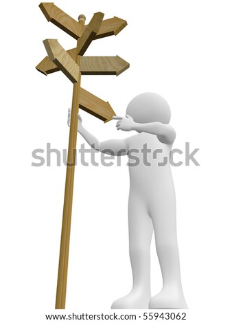 A man is taking a decision with the help of a signpost