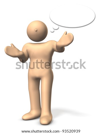 A man is talking about  something. This is a computer generated image,on white background.