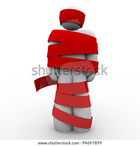 A man is wrapped in red tape representing being immobilized due to bureaucracy, kidnapping, fear or other concept keeping him from moving or acting
