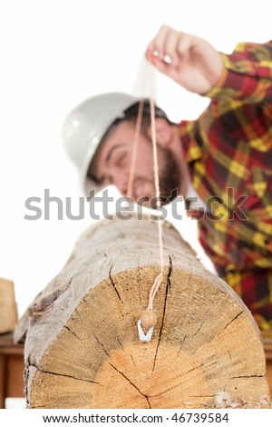 a man isolated on white snapping a chalk line on a log