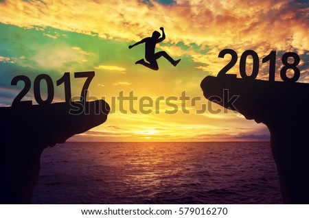 A man jump between 2017 and 2018 years.