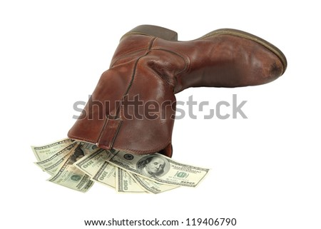 A man keeps and hides his money in his boot