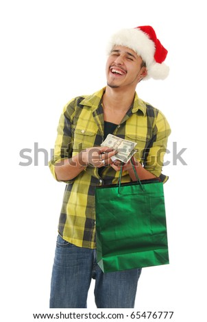A man laughing while Christmas shopping