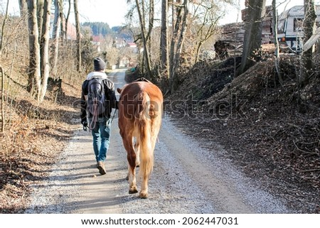 A man leads his horse through a village by the halter.