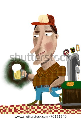 A man leaned on the bar takes a beer glass