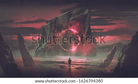 a man looking at a huge iceberg with mysterious light, digital art style, illustration painting