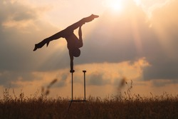 A man of athletic build performs complex gymnastic exercises in a field at sunset