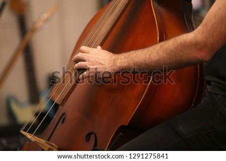 A man playing a double bass musical instrument during a live performance