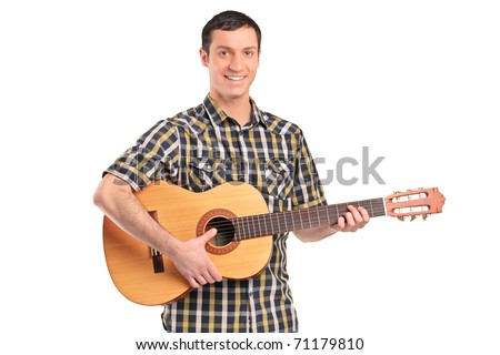 A man playing acoustic guitar isolated on white background