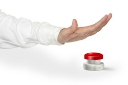 A man pushing a big red start stop alarm panic button with the palm of hand