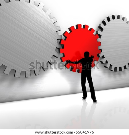 A man puts a gear. He improves a process or repairs a tool.