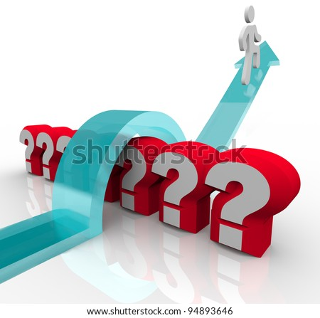 A man rides an arrow to jump over several question marks to represent finding answers with knowledge and curiosity