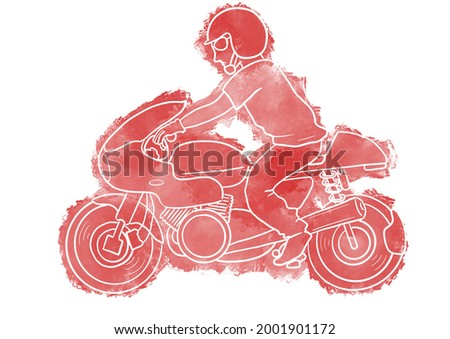 A man riding a classic motorcycle. Painted with an intaglio technique that expresses by erasing the color Stockfoto ©