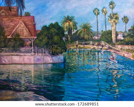 A man rows a boat in a canal reflecting late afternoon sun on houses and palm trees in an acrylic painting.