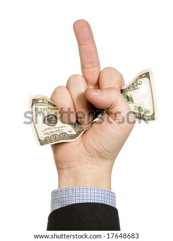 A man's hand hold a hundred dollar bill and show his middle finger at the same time.