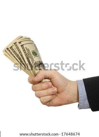 A man's hand holding a handful of dollars.
