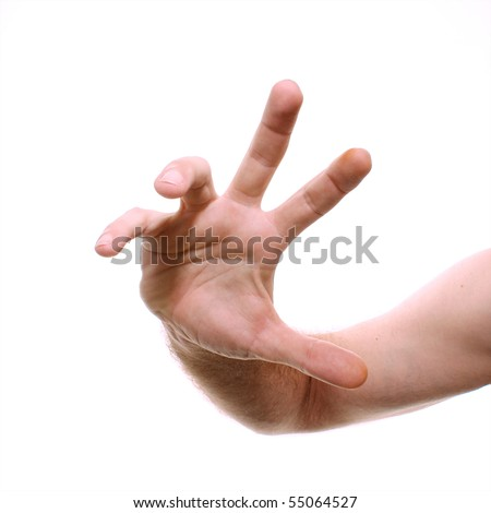 A man's hand is shown reaching towards viewer in wide angle shot to distort.. Shot over white.
