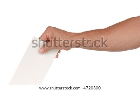 A man's hand putting an envelope in a slot