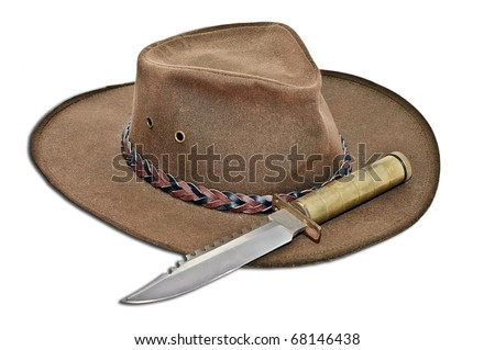 A man's leather hat and a large, old, knife with a brass handle. It has a drop shadow added.