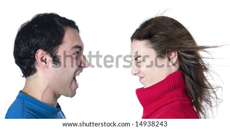 A man screaming at her girlfriend on white background.