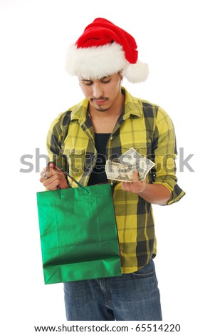 A man short on cash for Christmas shopping