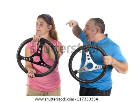 a man shouting at a woman at the wheel
