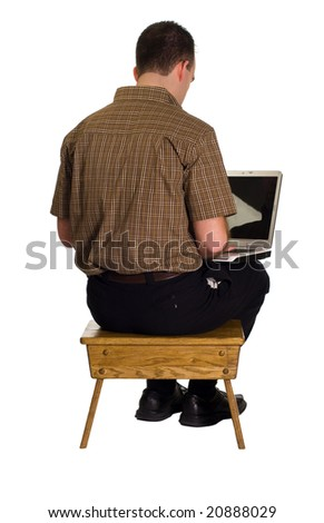 A man sitting on a wooden stool and working on his laptop computer, isolated against a white background