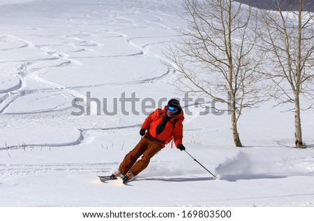 A man skiing fresh pristine powder, Utah, USA.