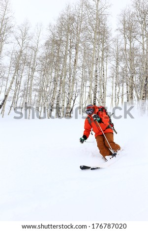 A man skiing with aspen trees in the background, Utah, USA.