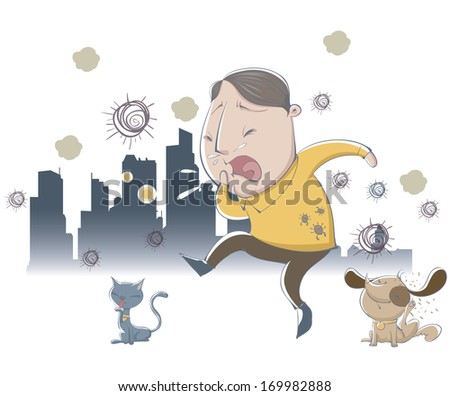 A man sneezing from the dander of the cat and dog.