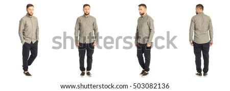 A man stand in black pants isolated on white