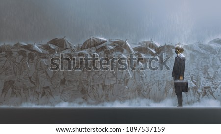 a man standing in the rain among people holding umbrellas walks across the street, digital art style, illustration painting Foto stock ©