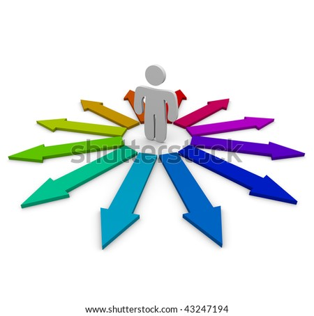 A man stands at the center of many colorful arrows representing opportunities, struggling over which one to choose