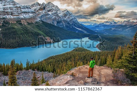A Man stands in wonder as he contemplates life standing in front of the Peyto Lake in Banff National Park Alberta, Canada.