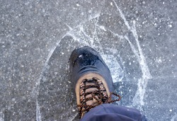 A man stepped on thin ice