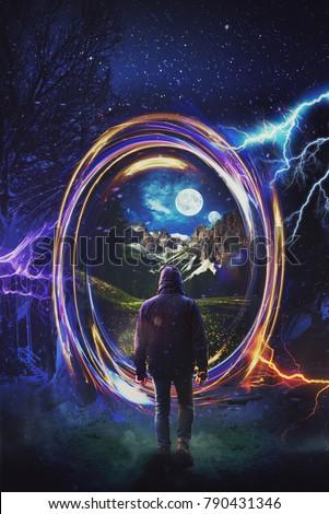 A man steps through a fantasy Portal to a new world Artwork