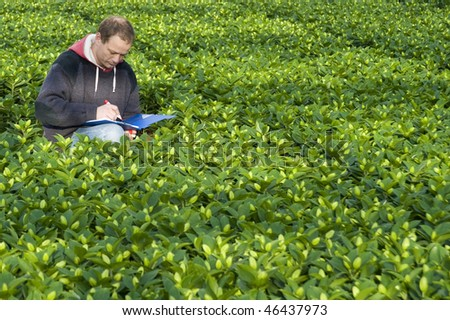 A man taking notes in his clipboard, surrounded by plants inside a glasshouse