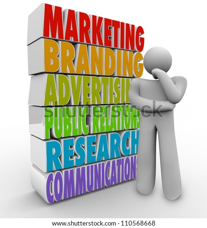 stock photo : A man thinks of a marketing plan beside the words that represent elements of a communications strategy - advertising, research, branding, public relations and promotions