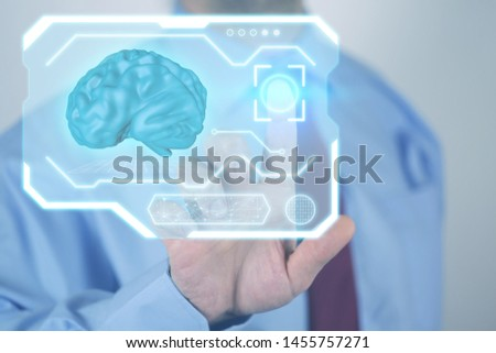 A man touches a finger in a virtual screen digital by id touch. Photo ai  futuristic technology - artificial intelligence and deep learning.