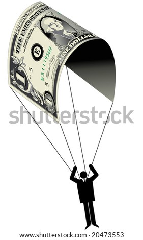A man uses a dollar for a parachute